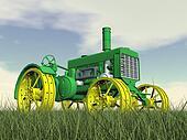 Antique tractor - 3D render