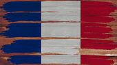 France Flag tinted horizontal on the wood texture