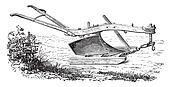 Dombasle plow in plow on his sled, vintage engraving.