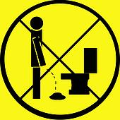 Pee Floor Sign warn