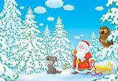 Santa looking for a Christmas tree