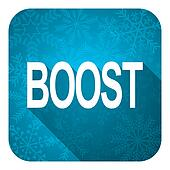 boost flat icon, christmas button