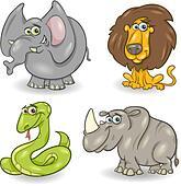 cute wild animals set
