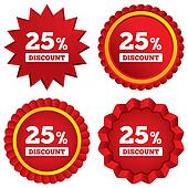 25 percent discount sign icon. Sale symbol.