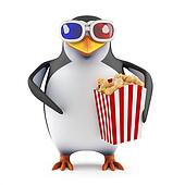 3d Penguin eats popcorn