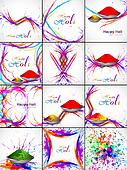 Beautiful Indian festival grunge wave colorful collection celebration happy holi set background wallpaper vector