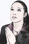 Illustration Young Woman Praying
