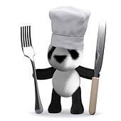 3d Baby Panda chef
