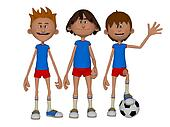 3d cartoon boys, football team