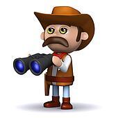 3d Cowboy sheriff has binoculars