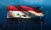 Syria Under Water Sea Flag National Torn Bubble 3D