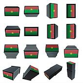 burkina faso flags 3D Box with  mesh texture