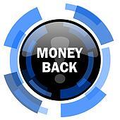 money back black blue glossy web icon