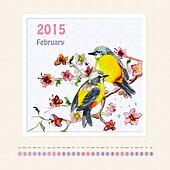 Calendar for february 2015 with bird, watercolor painting