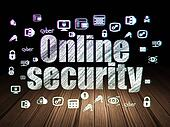 Safety concept: Online Security in grunge dark room