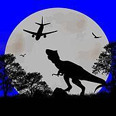 Dinosaur Silhouette  and airplane