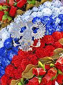 Wreath of plastic roses in tricolor