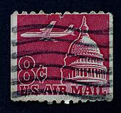 USA - CA. 1963: United States postage stamp is used for overseas air mail deliveries with a jet flying over the Capitol building, printed by USA, circa 1963.