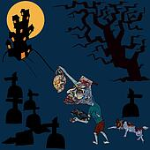 Halloween concept,zombie is going home with his pet
