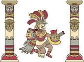 Aztec god between columns,