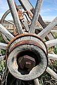 old rusting wagon wheel