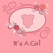 Baby girl greeting and announcement postcard with pink suit