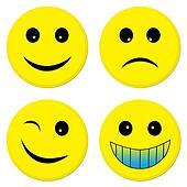 Four emoticon friends