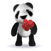 3d Baby panda bear has a red rose