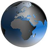 World Globe:Europe-Africa, with blue-shaded oceans