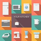 Set of kitchen appliances flat   icons