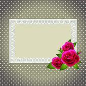 roses and polka dot patterned invit
