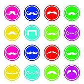Moustache or mustache round icons