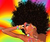 Afro Girl,Abstract Background