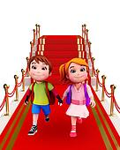 Cute kids with red carpet