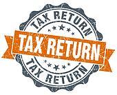 tax return vintage orange seal isolated on white