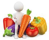 3D white people. Healthy food. Vegetables