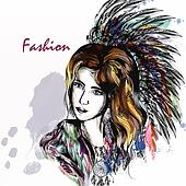 Beautiful dreamy longhaired girl weared in boho style clothers with feathers and  hand drawn dream catcher in engraved  style