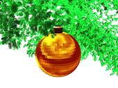 3D-Golden red ball-w