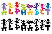 Doodle children with alphabet letters
