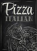 Poster Pizza Italian. Chalk.