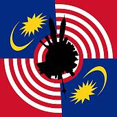 Kuala Lumpur circular skyline with Malaysian flag illustration