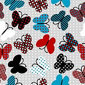 Seamless pattern with patterned butterflies