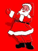 Santa Claus pointing to something.A message could b placed there