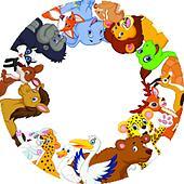 Cute animals cartoon around globe
