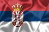 Serbia flag blowing in the wind