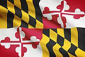 Series of ruffled flags. State of Maryland.