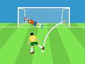 football player shooting soccer ball to goal, penalty,vector,ill