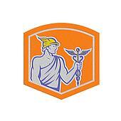 Metallic Mercury Holding Caduceus Staff Shield Retro