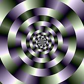 Concentric Circles in Green and Purple