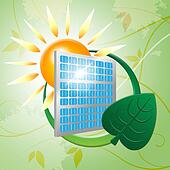 Solar Panel Represents Earth Friendly And Eco